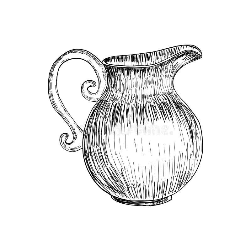 Изолированный эскиз кувшина молока, рука нарисованная иллюстрация, эскиз вектора бесплатная иллюстрация