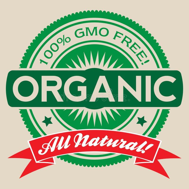 Изолированный ярлык вектора GMO свободный органический иллюстрация штока