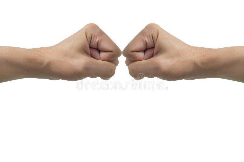 Изолированный bumping рук кулака стоковое фото rf