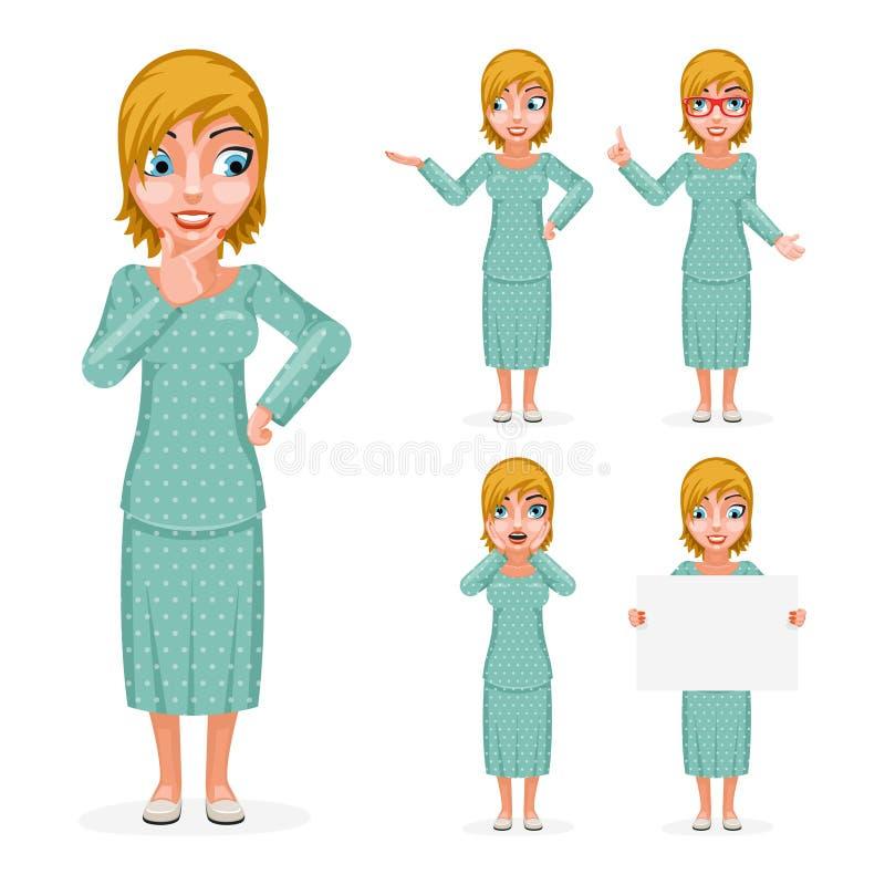 Изолированный Forefinger процесса принятия решений руки женщины девушки улыбки продажи милый удивленный женский вверх по набор пе иллюстрация вектора