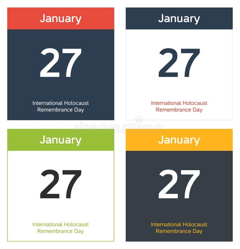 4 изолированных листа календаря для международного холокоста Remembran иллюстрация вектора