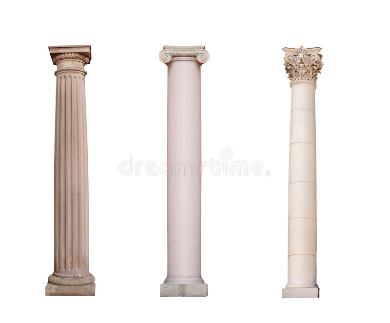 Изолированы старые столбцы ионного, Doric и коринфского ordo стоковое фото rf