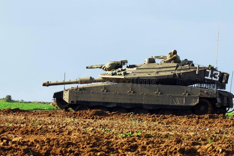 Израильский танк около сектора Газаа стоковая фотография rf
