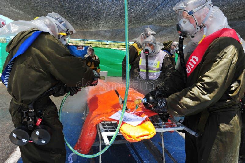 Израиль подготавливает для биологических и химических нападений Ракеты стоковое фото rf