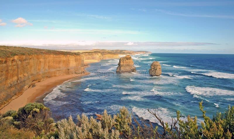 Изрезанная береговая линия в Виктории, Австралии стоковые фото