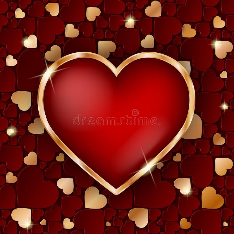 Изумительная золотая рамка сердца с красным сердцем 3d внутрь иллюстрация штока