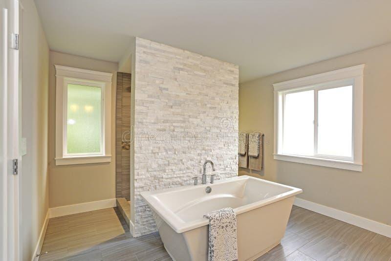 Изумительная мастерская ванная комната с freestanding ванной стоковое фото rf