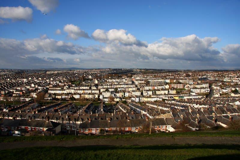 изумительная панорама традиционная Великобритания домов стоковые фотографии rf