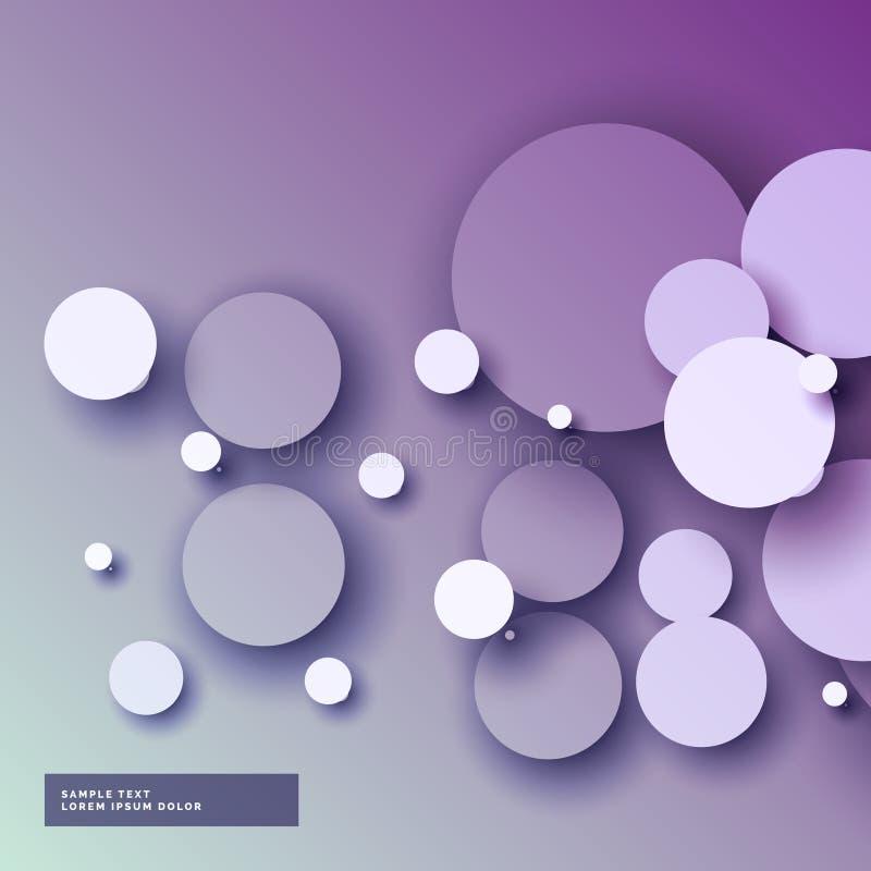Изумительная фиолетовая предпосылка с абстрактными кругами 3d бесплатная иллюстрация
