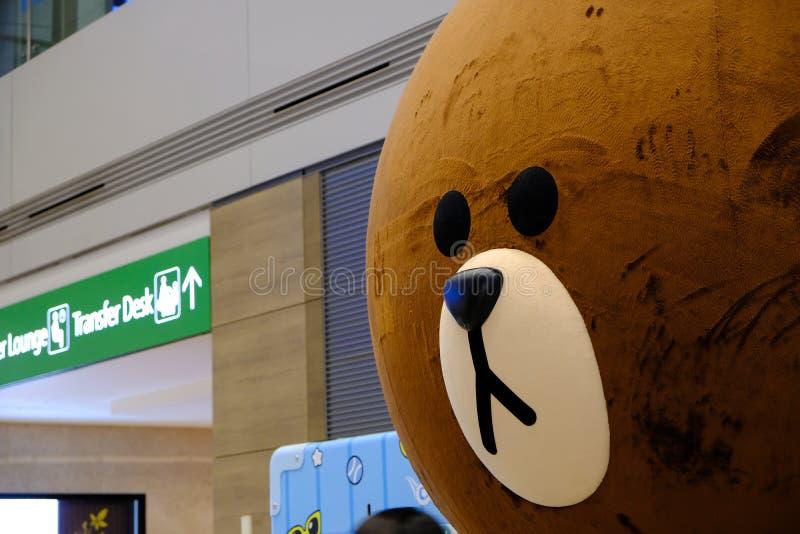 Изумительно огромная голова Big Bear на международном аэропорте Корее Инчхона стоковые фотографии rf