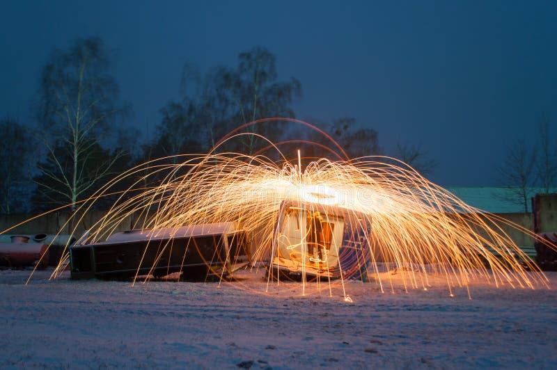 Изумительный огонь стальных шерстей, стоковые изображения