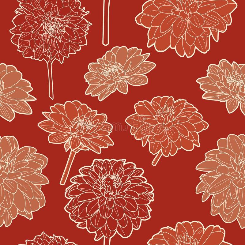 Изумительная безшовная флористическая винтажная японская красная картина стоковое фото rf