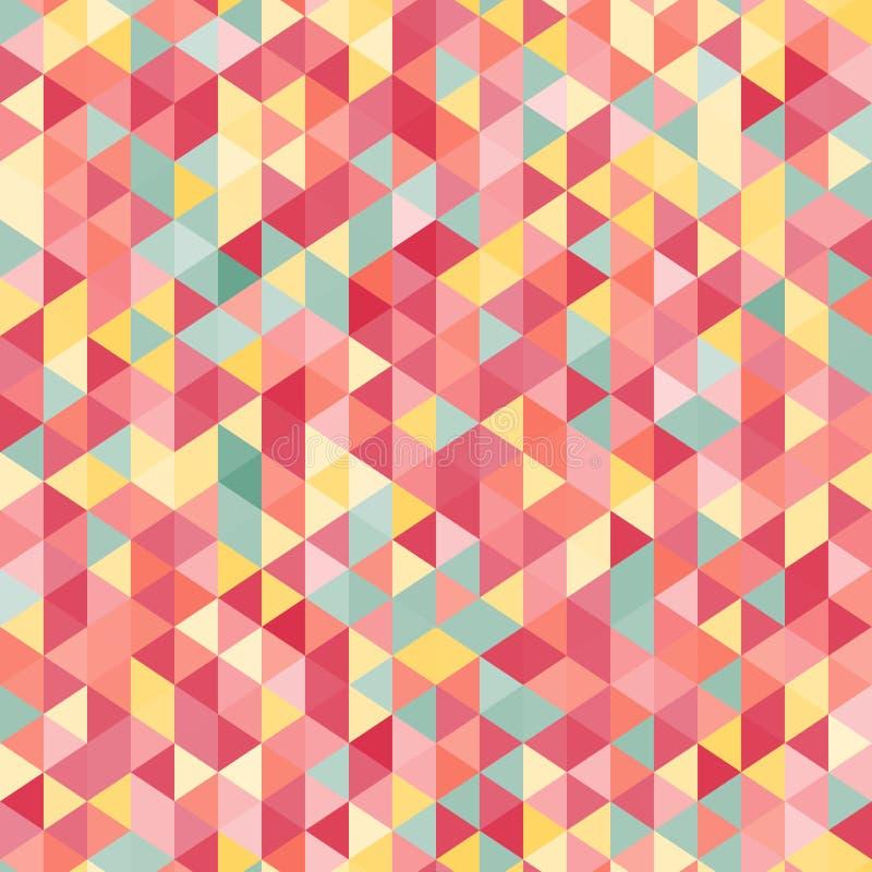 Изумительная красочная розовая винтажная геометрическая картина треугольника мозаики стоковые изображения rf
