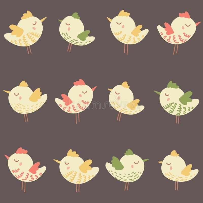 Изумительная милая безшовная винтажная красочная картина цыпленка птицы стоковое изображение