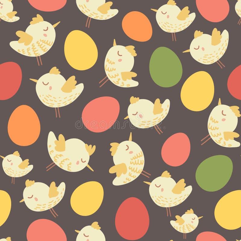 Изумительная милая безшовная винтажная красочная картина цыпленка птицы стоковые фотографии rf