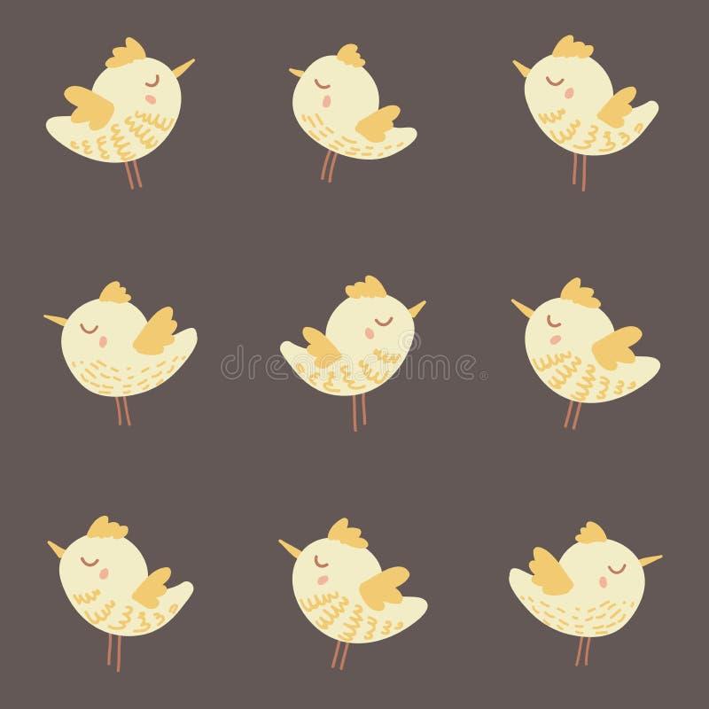 Изумительная милая безшовная винтажная красочная картина цыпленка птицы стоковое фото rf