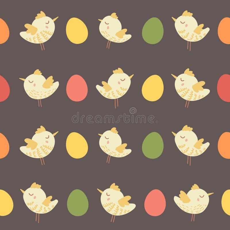 Изумительная милая безшовная винтажная красочная картина цыпленка птицы стоковые фото