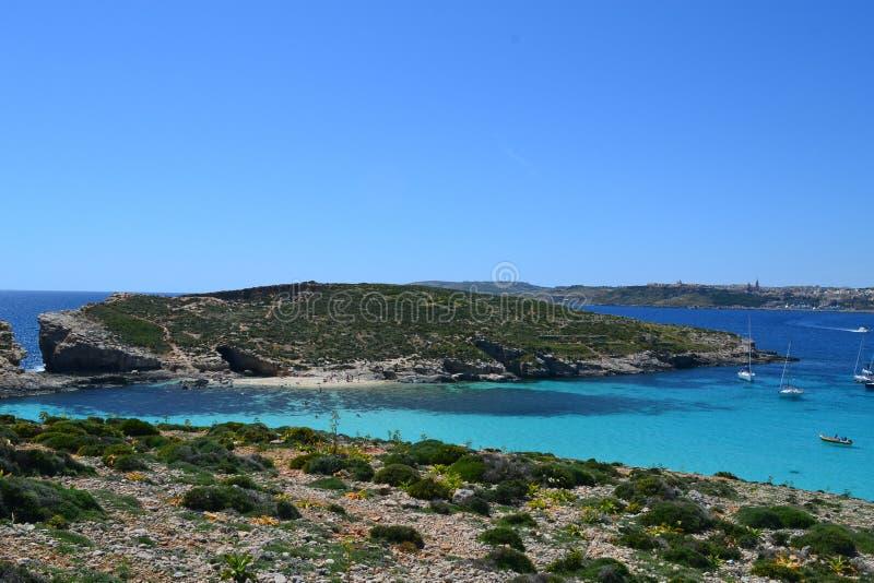 Изумительная сцена голубой лагуны в Comino Мальте стоковое фото rf