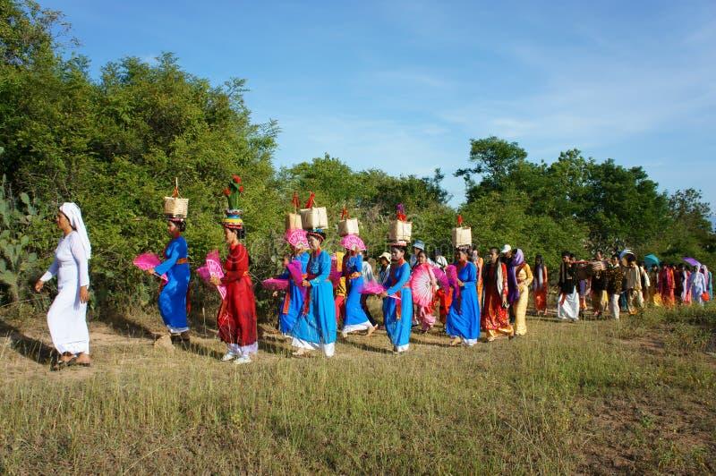 Изумительное панорамное, фестиваль Kate, культура Cham традиционная стоковая фотография rf