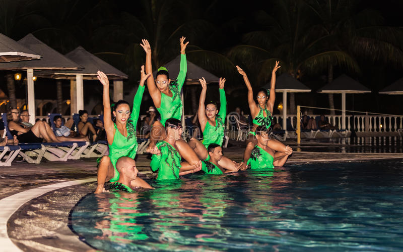 Изумительное представление команды аниматоров гостиницы на выставке воды ночи эффектной стоковое фото rf