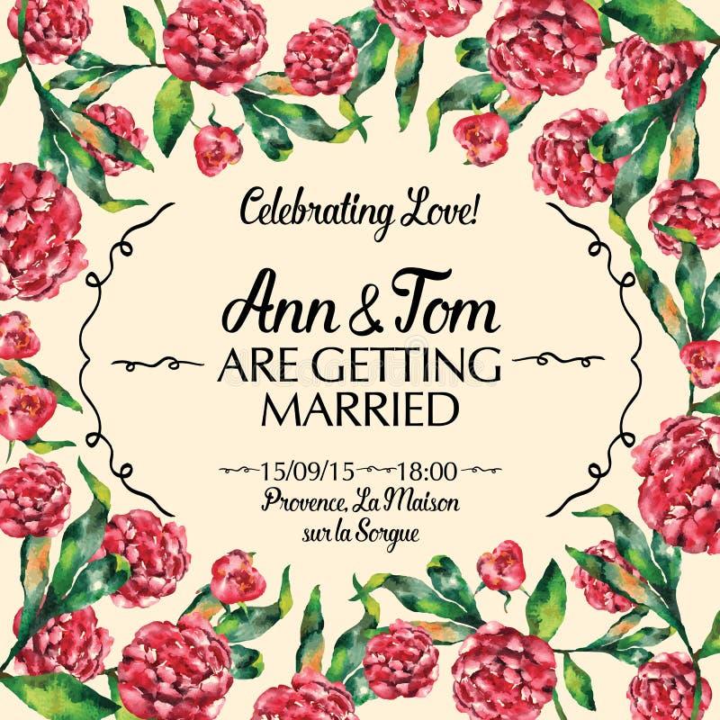 Изумительное приглашение свадьбы в иллюстрации вектора акварели стоковые фотографии rf