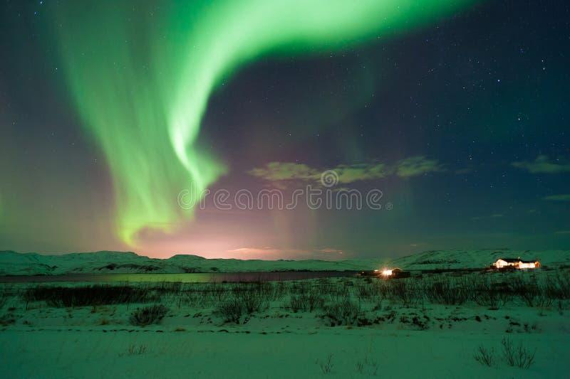 Изумительное северное сияние над ландшафтом в зиме Исландии стоковая фотография rf