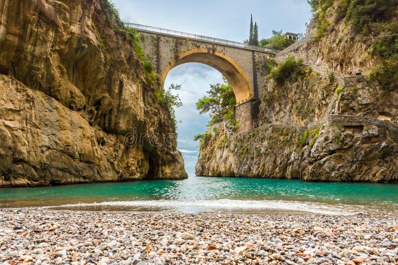 Изумительно красивый пляж под мостом стоковые изображения rf