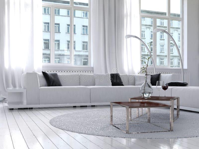 Изумительный белый интерьер живущей комнаты просторной квартиры бесплатная иллюстрация