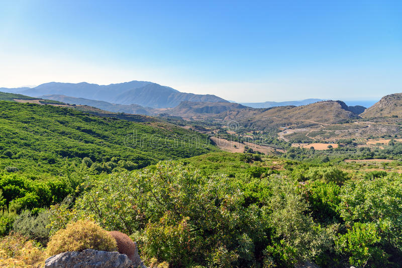 Изумительный взгляд на ландшафте острова Крита, Греции стоковые фотографии rf