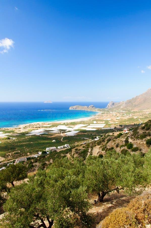 Изумительный взгляд над заливом Falassarna, острова Крита, Греции стоковое фото