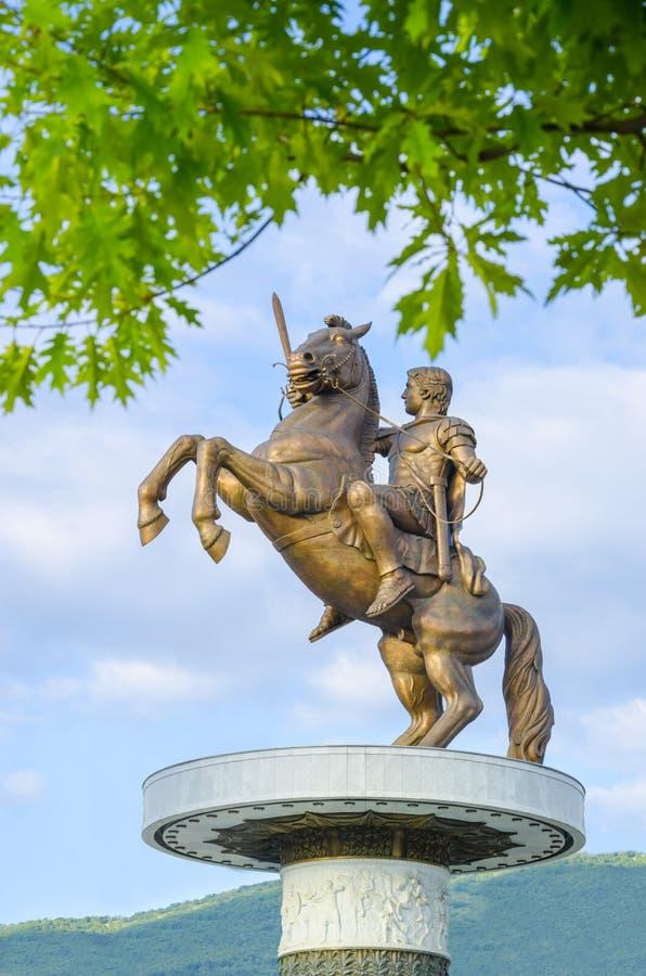 Изумительный взгляд статуи Александра Македонского стоковое фото rf