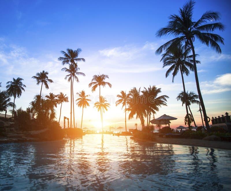 Изумительный восход солнца на тропическом пляже Путешествия стоковые фото