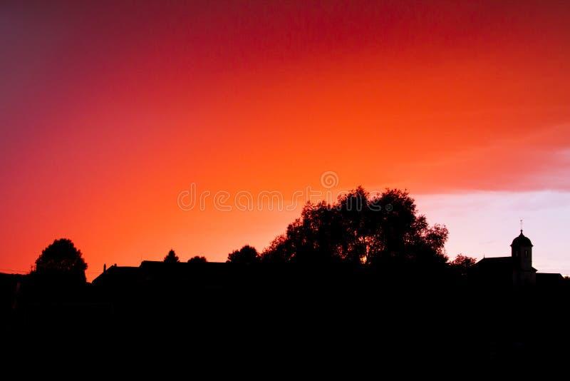 Изумительный заход солнца в Franche-Comté, Франции стоковое изображение rf