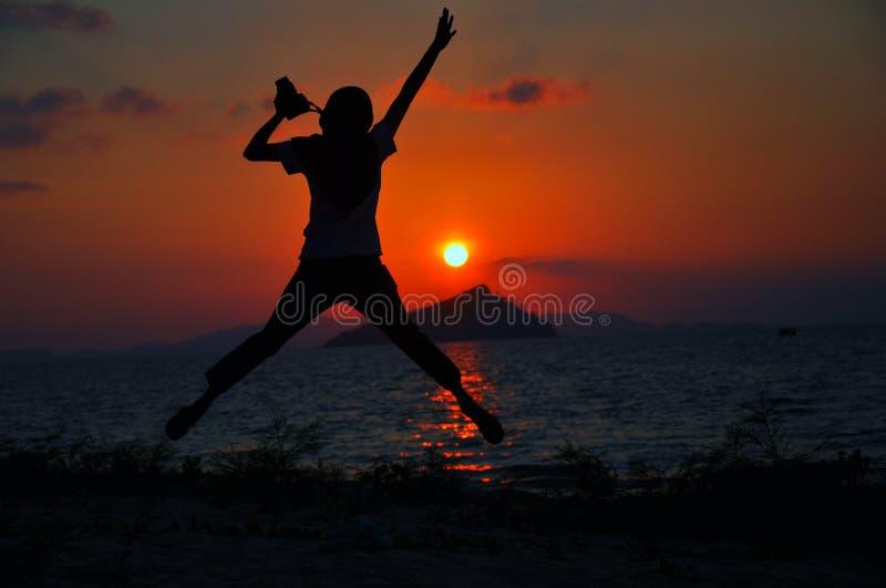 Изумительный заход солнца над морем стоковая фотография