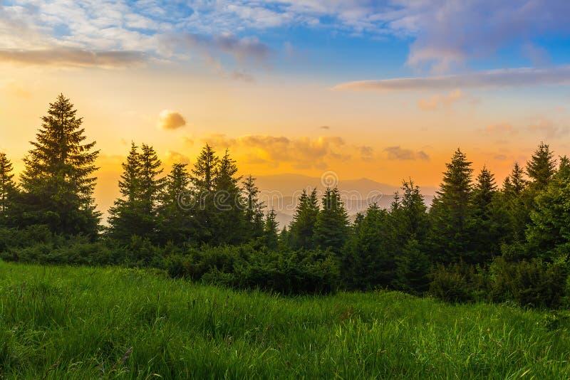 Изумительный красочный заход солнца на прикарпатских горах, Украина стоковая фотография