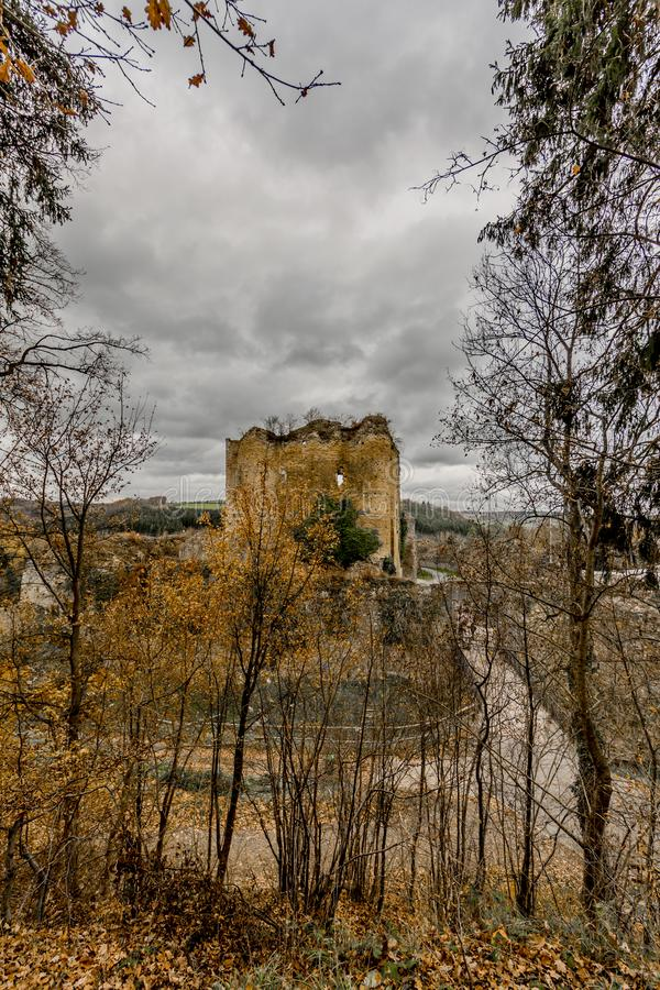 Изумляя изображение замка Franchimont во взгляде руин от леса стоковое изображение rf