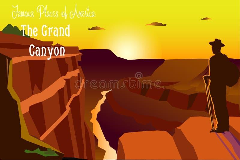 Изумляя иллюстрация вектора Национальный парк гранд-каньона Природа Аризоны, США иллюстрация штока