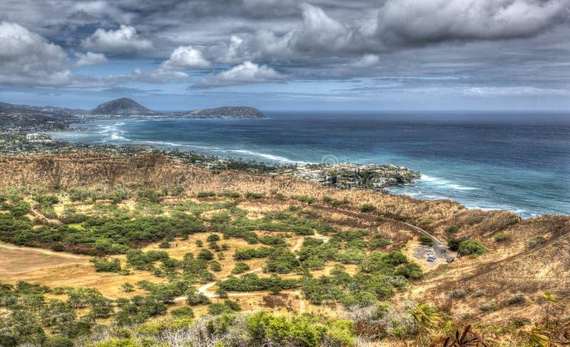 Изумляя песчаный пляж вида с воздуха сценарные и пункт Makapuu стоковое фото rf