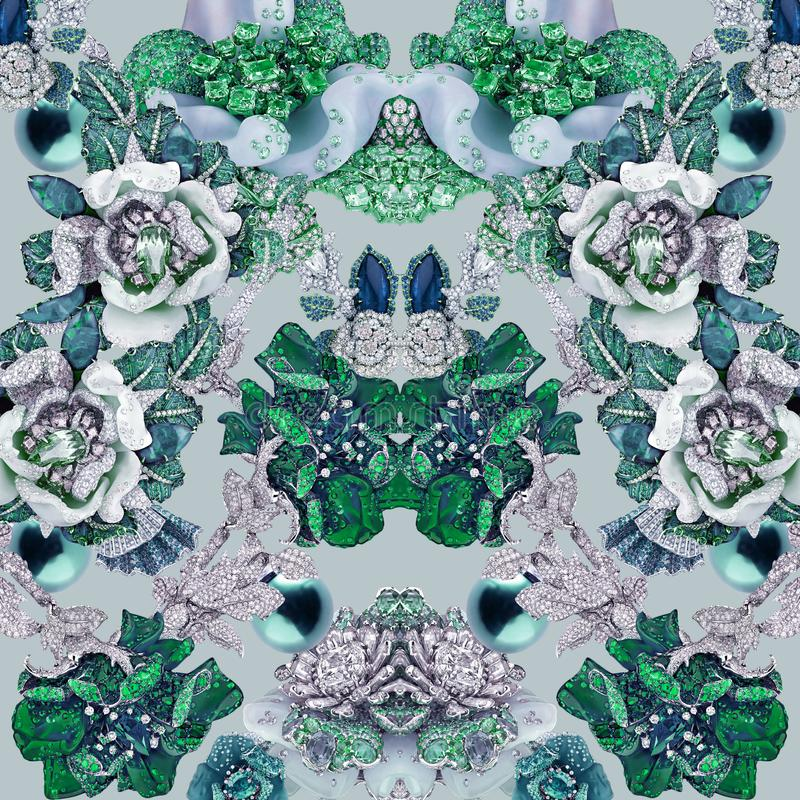 Изумрудная печать с камнями, диамантами, кристаллами, цветками, сапфиром и украшениями стоковые изображения rf