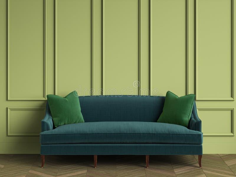 Изумрудно-зеленая софа с зелеными подушками в классическом интерьере с космосом экземпляра бесплатная иллюстрация