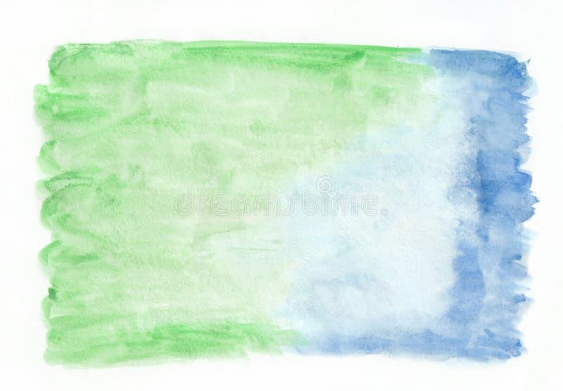 Изумрудный нефрит и лазурная смешанная предпосылка горизонтального градиента акварели иллюстрация штока