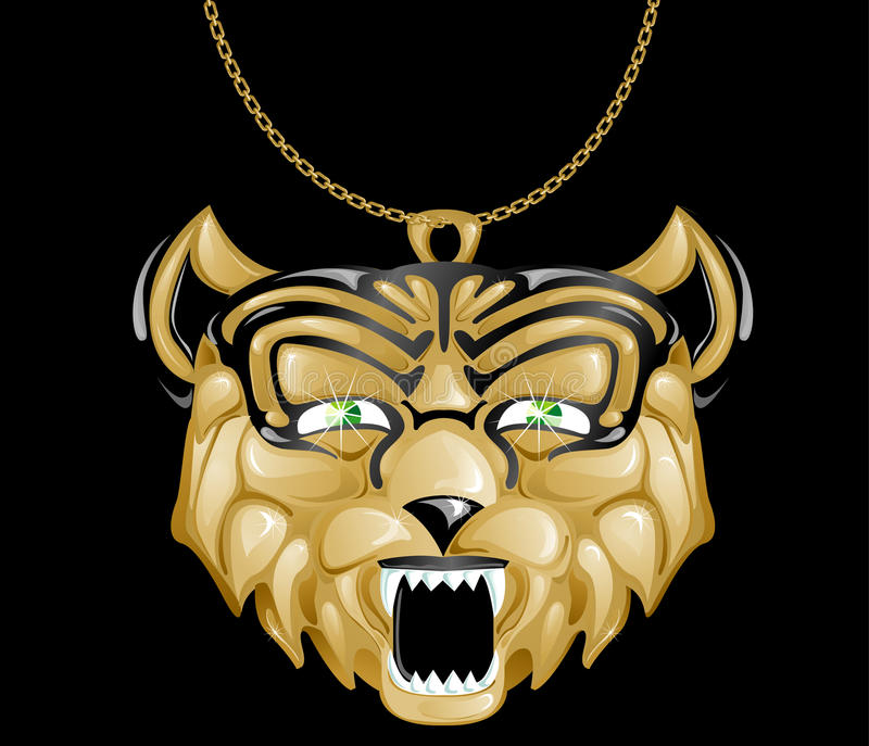 изумруд eyes тигр шкентеля золота иллюстрация вектора