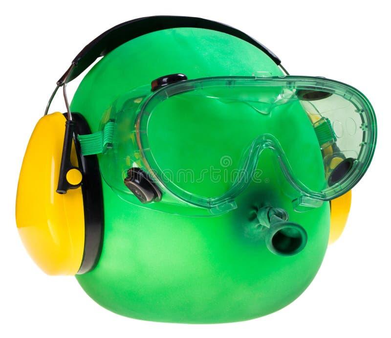Изумлённые взгляды и протекторы уха, защитное оборудование стоковое изображение rf