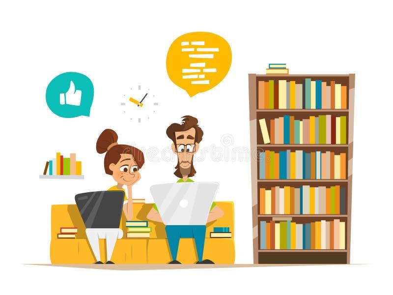Изучать девушки мальчика 2 студентов сидя с компьтер-книжкой в библиотеке бесплатная иллюстрация