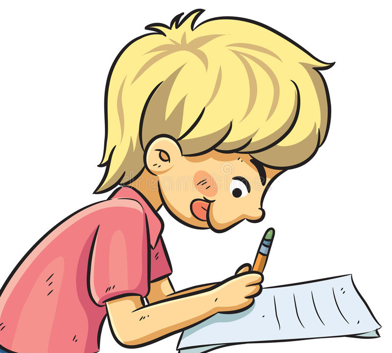 Картинка пишущего ученика