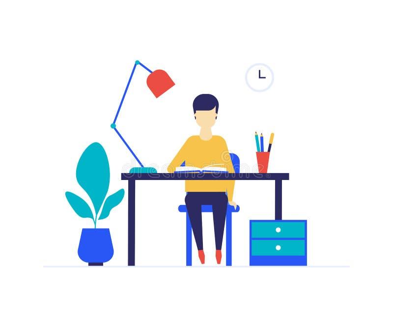 Изучать студента - иллюстрация плоского стиля дизайна красочная бесплатная иллюстрация