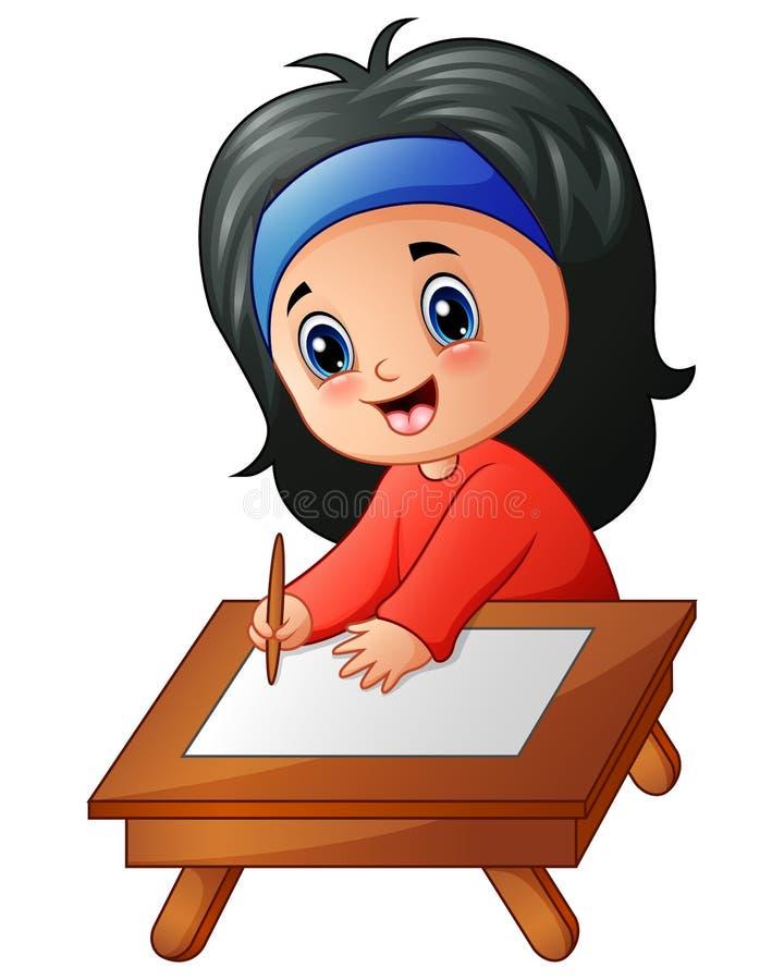 Изучать шаржа маленькой девочки иллюстрация вектора