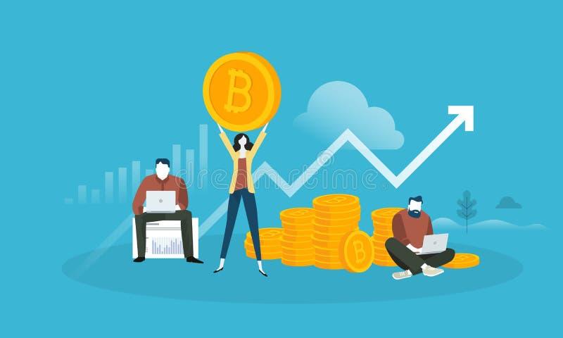 Изучение конъюнктуры рынка Bitcoin иллюстрация вектора