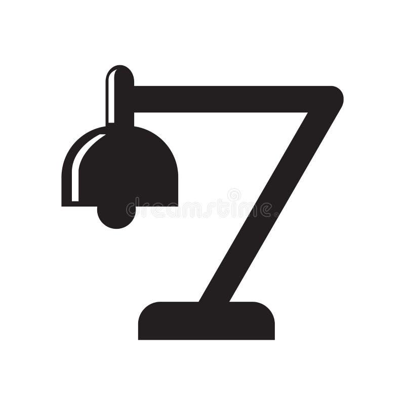 Изучите знак и символ вектора значка лампы изолированные на белом backgro иллюстрация штока