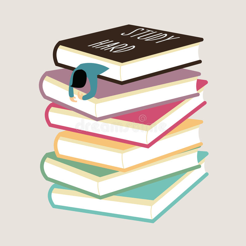 Изучите трудного утомлянного человека упадите уснувший между стогом книги иллюстрация штока